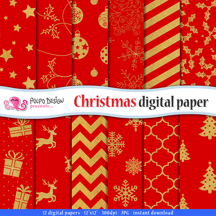 red and gold christmas digital paper by polpodesign on deviantart