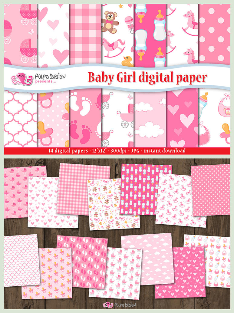 Baby Girl digital paper by PolpoDesign