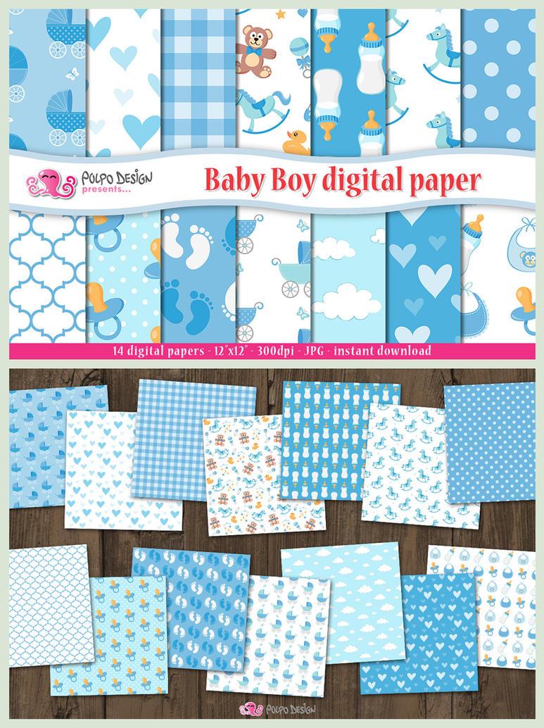 Baby Boy digital paper by PolpoDesign