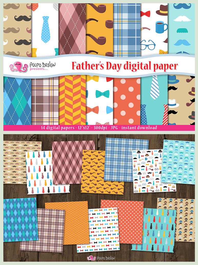Father's day digital paper by PolpoDesign