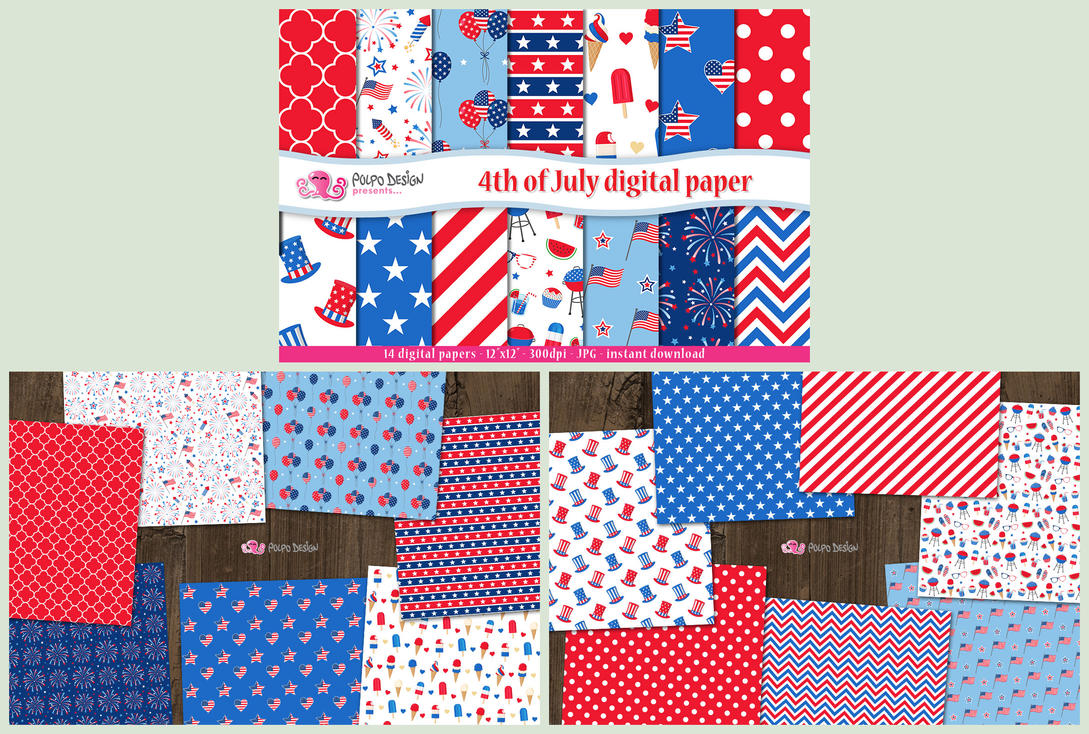 4th of July digital paper by PolpoDesign