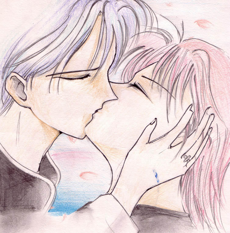 Animasi Kartun Ciuman Mesra