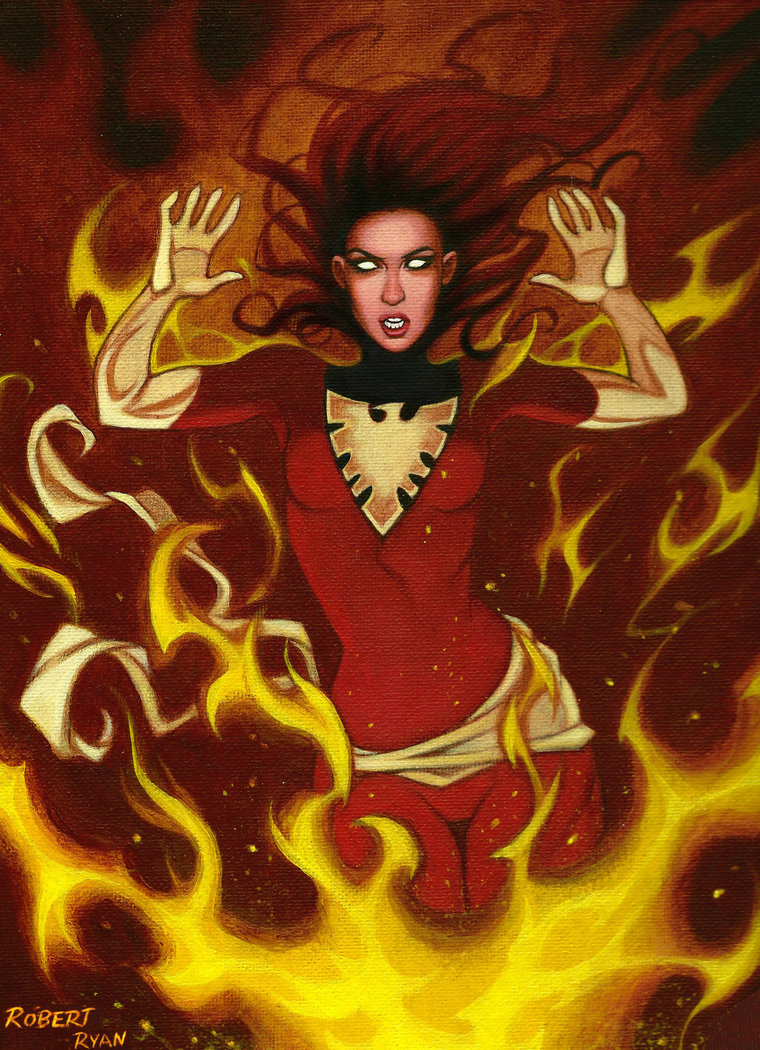 Dark Phoenix Pin Up Acrylic by John-Curtis-Ryan