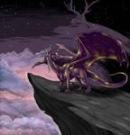 Landscape with violet dragon