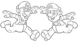Super Mario and Luigi [Line Art]