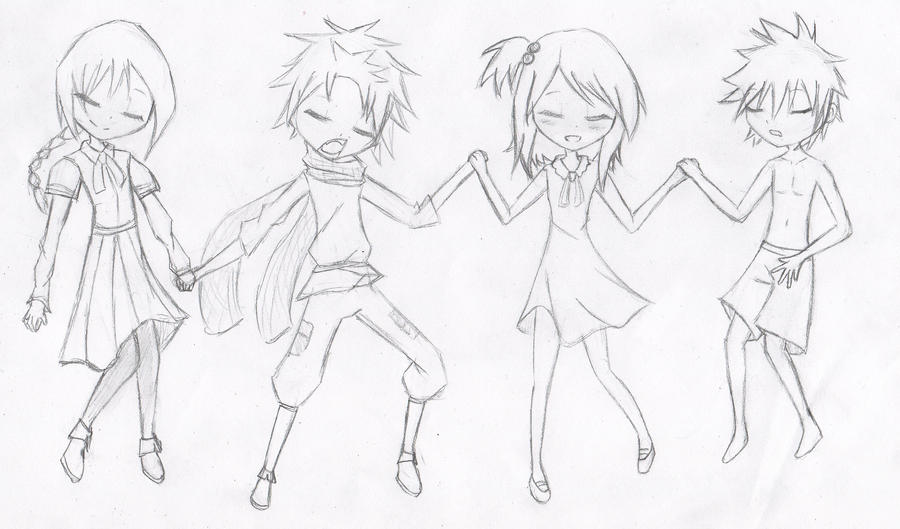 sketche : fairy tail kids by Yvanya