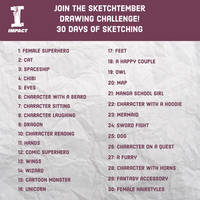 Sketchtember Drawing Challenge Prompt List by impactbooks