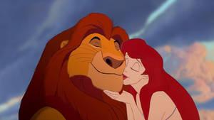 Ariel gives Mufasa a kiss