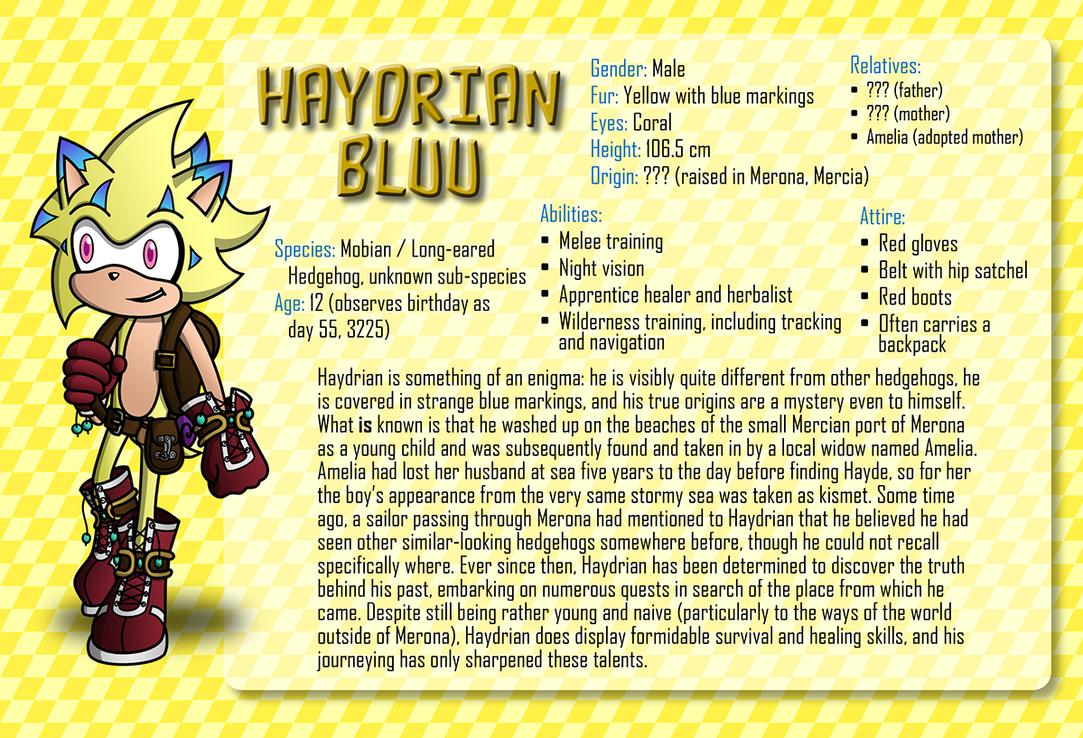 Character Info Sheet: Haydrian Bluu by CheVD