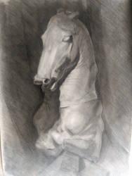 Charcoal horse bust 100x70 cm