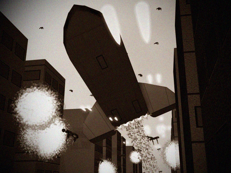 Assault Shuttle escaping Invid in Monument City BW by X1Commander
