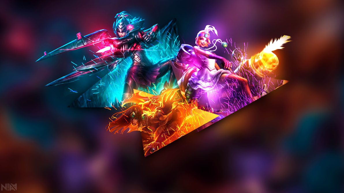 Hd Images Png >> AD Carry Wallpaper - Jinx Caitlyn Sivir - 1366x768 by AliceeMad on DeviantArt