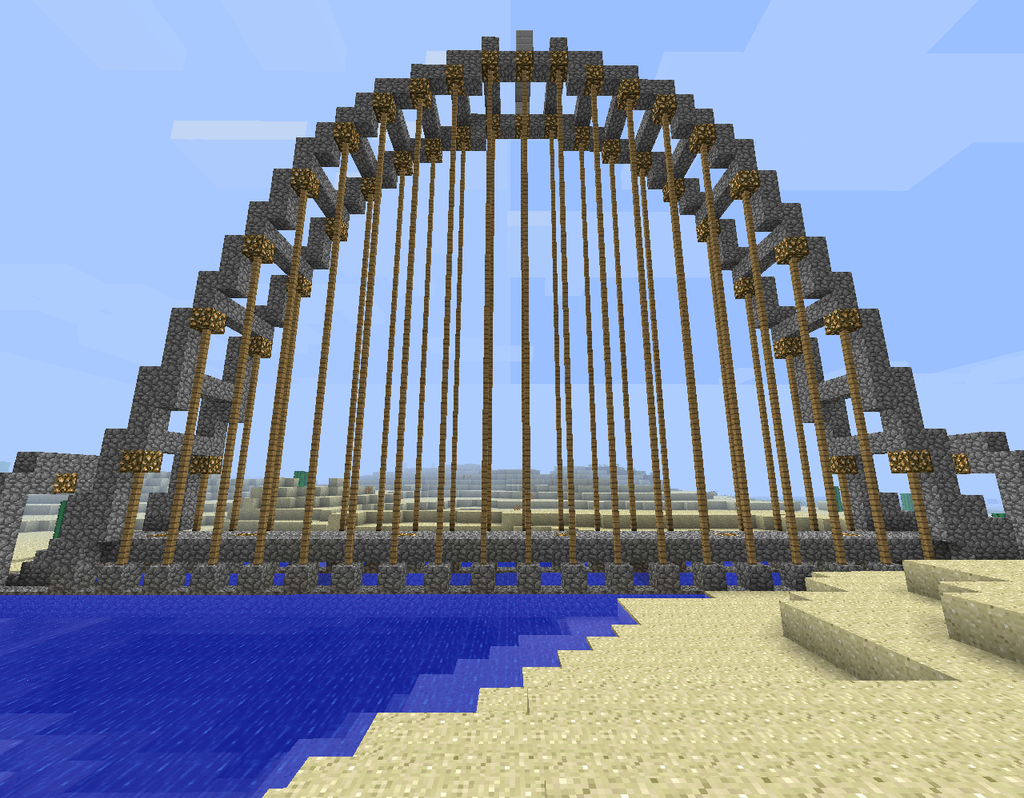 how to build a suspension bridge in minecraft
