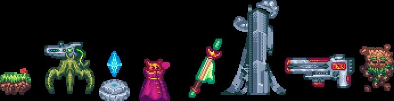 Random pixel arts and sprites