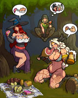 Dragon's crown picnic (with idiotic bubbles) by LucidARTDVC