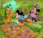 Mickey, Minnie, and Pluto painting