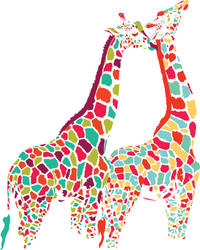 Colorful Giraffe Couple by ecom