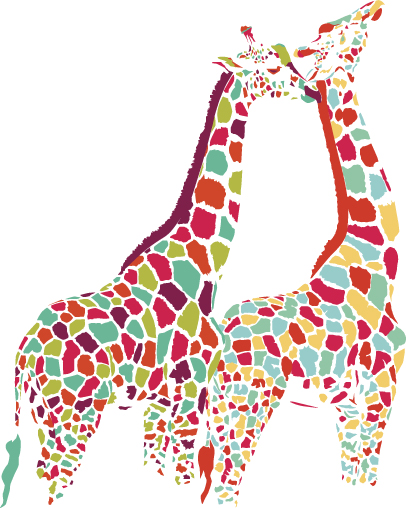 Colorful Giraffe Couple by ecom on DeviantArt