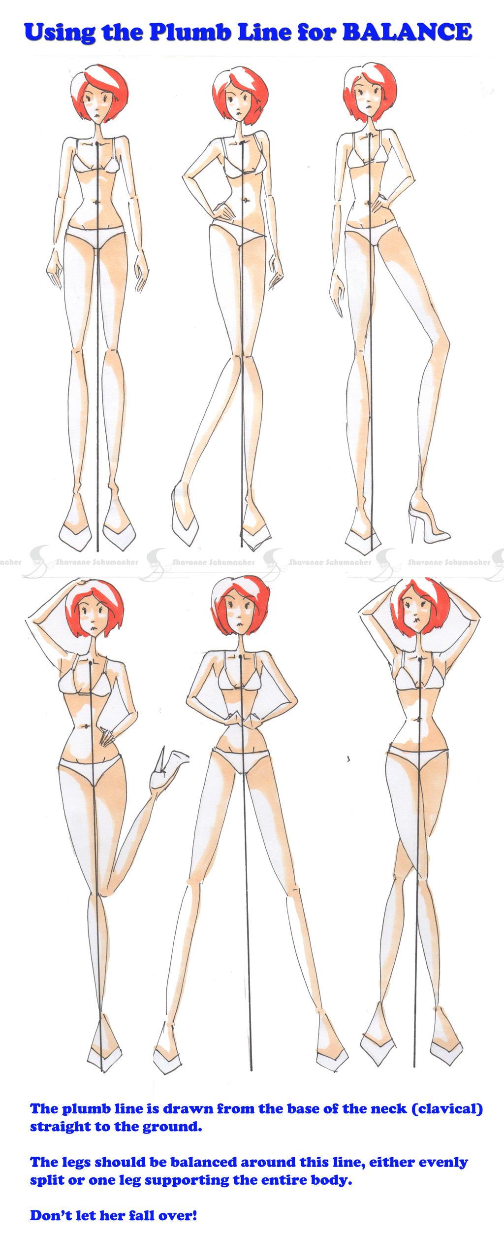 Using The Plumbline For Balance Fashion Pose Tut By Sufon On Deviantart