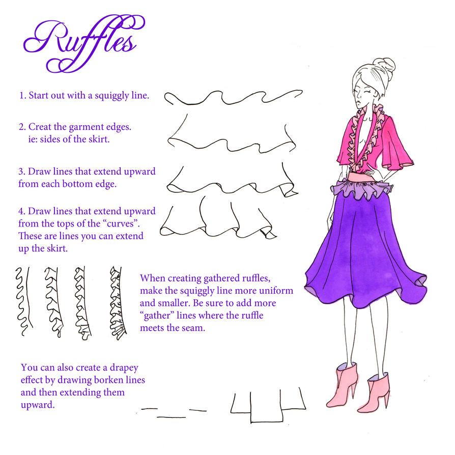 How To Draw Ruffles And Gathers By Sufon