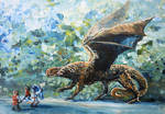 Dwarves of Belegost confront a Winged Dragon by victoriaclare