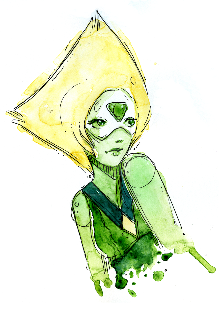 Peridot watercolor portrait. Part of a future fanzine project!