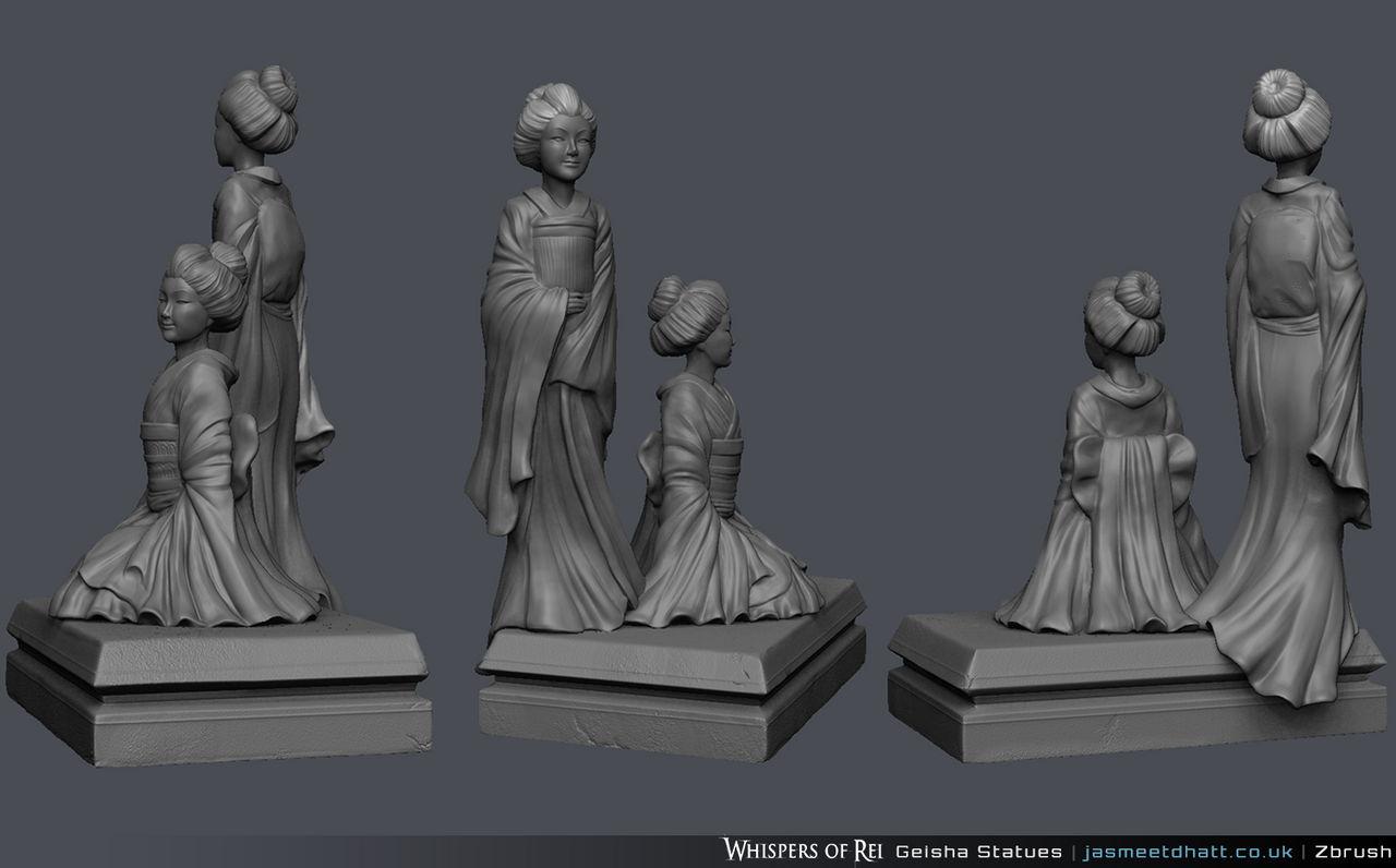 Whispers of Rei - Geisha Statues WIP