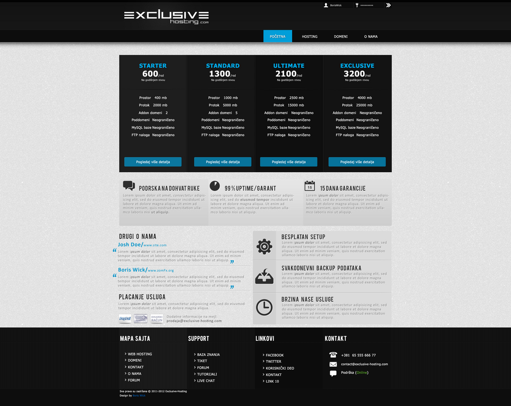 Clean Hosting Template- SOLD by BorisWick on DeviantArt