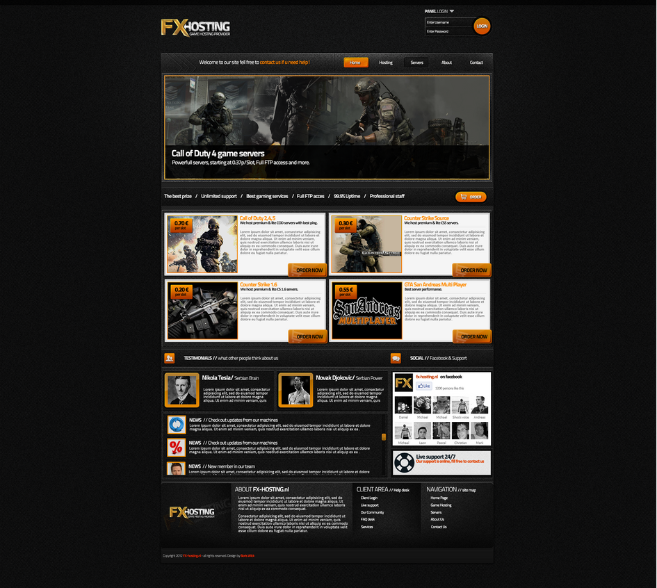 game hosting template sold by boriswick on deviantart