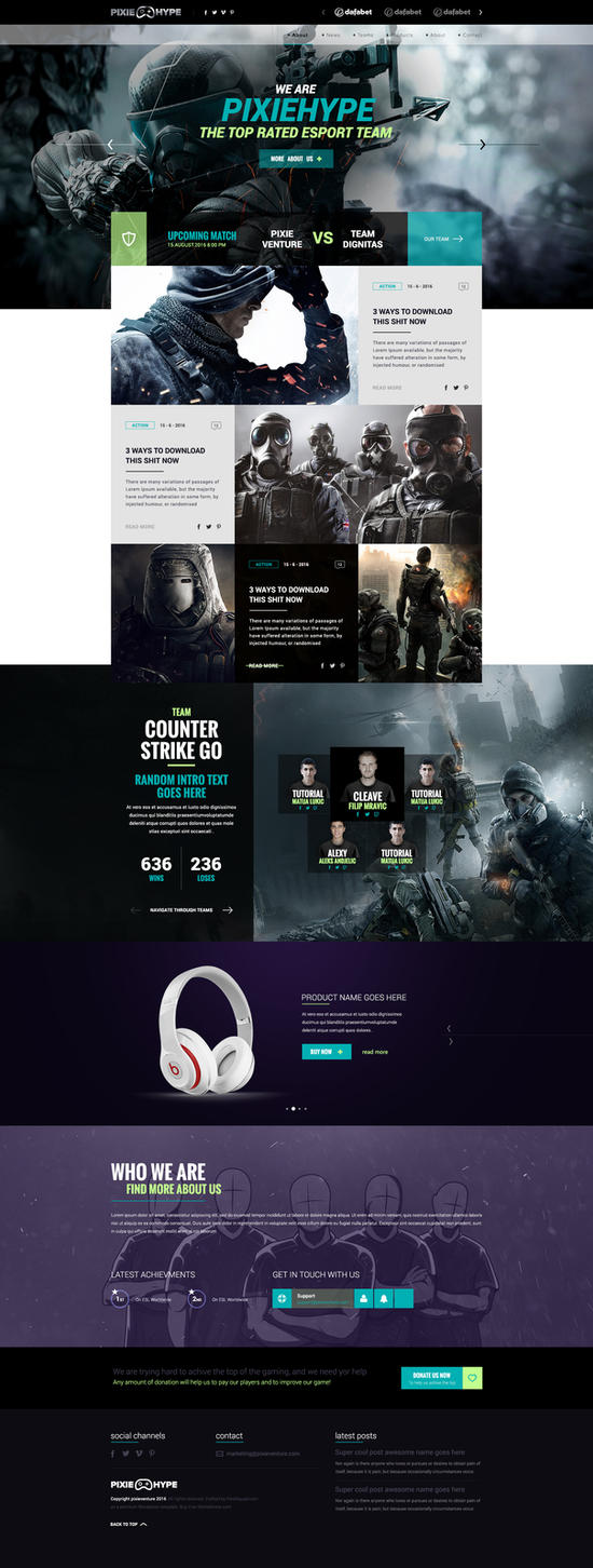 PixieHype Gaming - eSport WordpPress Theme by BorisWick