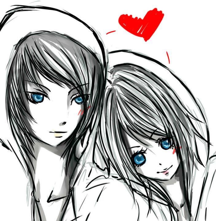 Love drawings anime cute