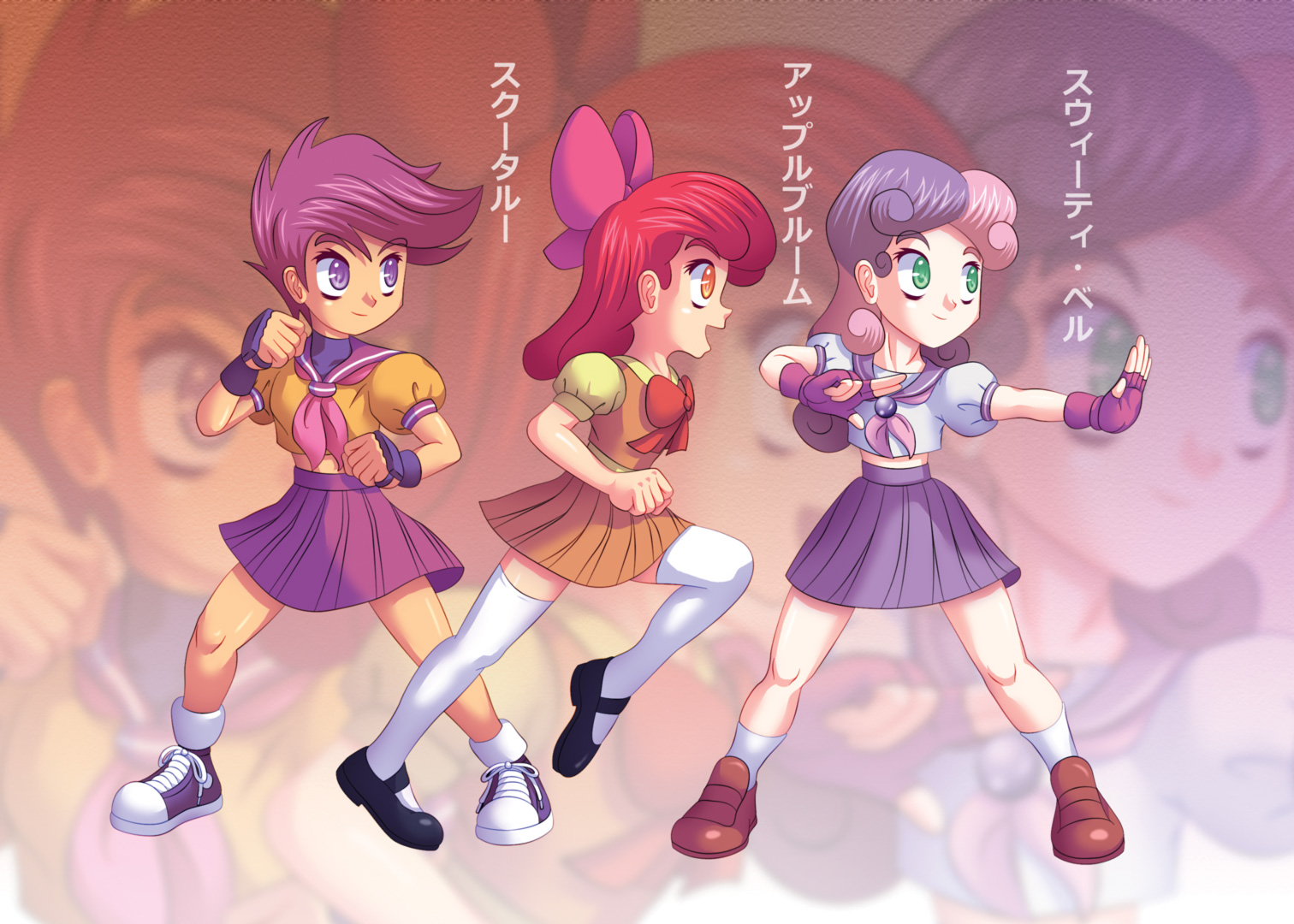 Cutie Mark Crusaders, Fighting Schoolgirls YAY! by Agu-Fungus