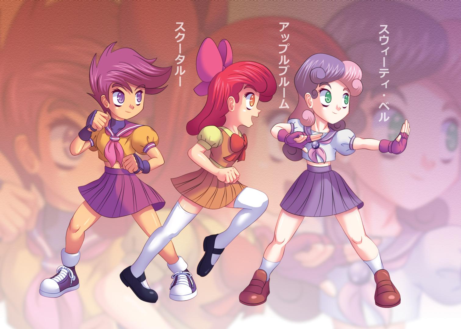 Cutie Mark Crusaders, Fighting Schoolgirls YAY! by Agu-Fungus