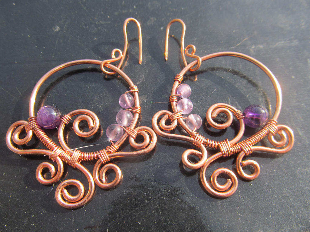 Purple Amethyst Copper Wire Wrap Earrings by TheHempChick on DeviantArt