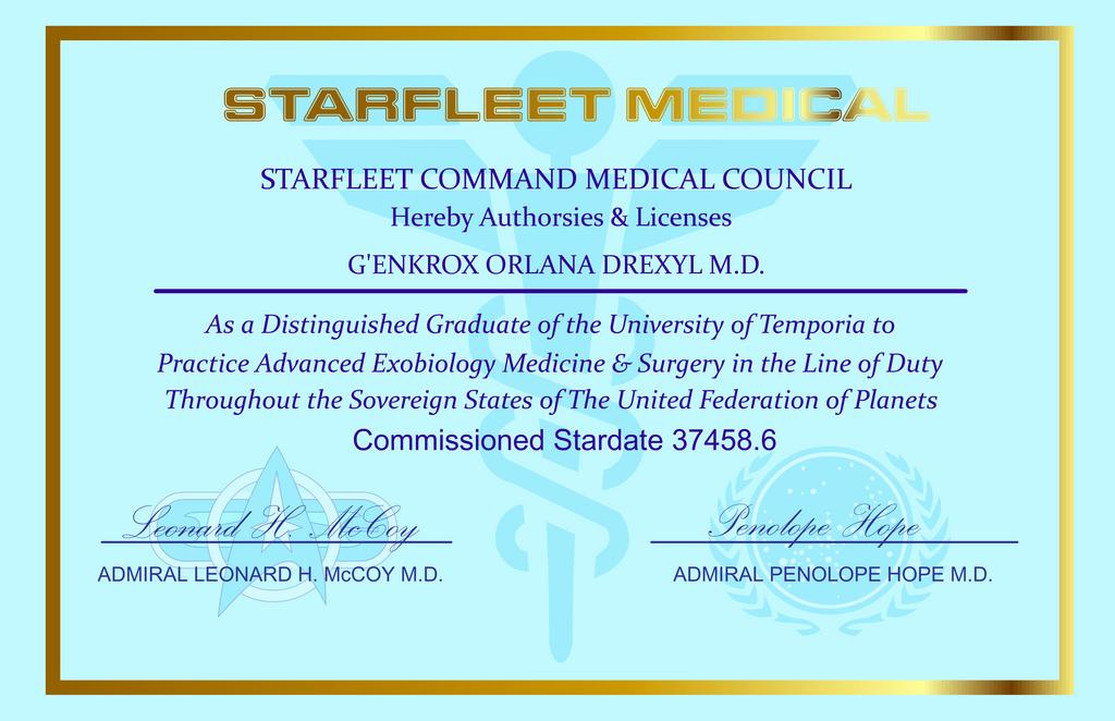 Dr. Drexyl's medical certificate