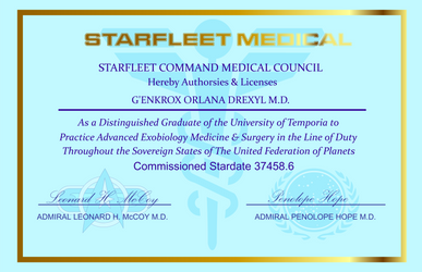 Dr. Drexyl's medical certificate