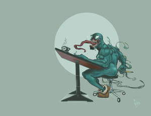 Venom at the drawing board.