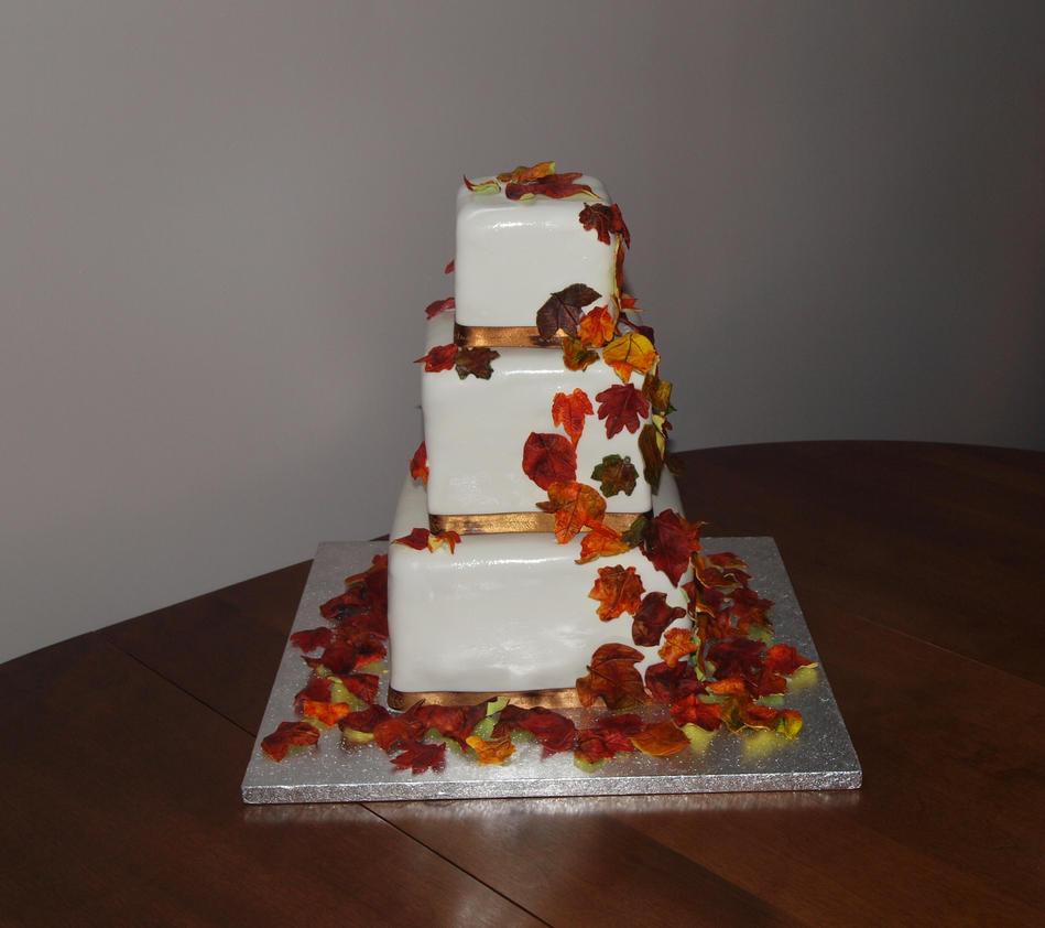Fall Leaves Wedding Cake by reenaj on DeviantArt