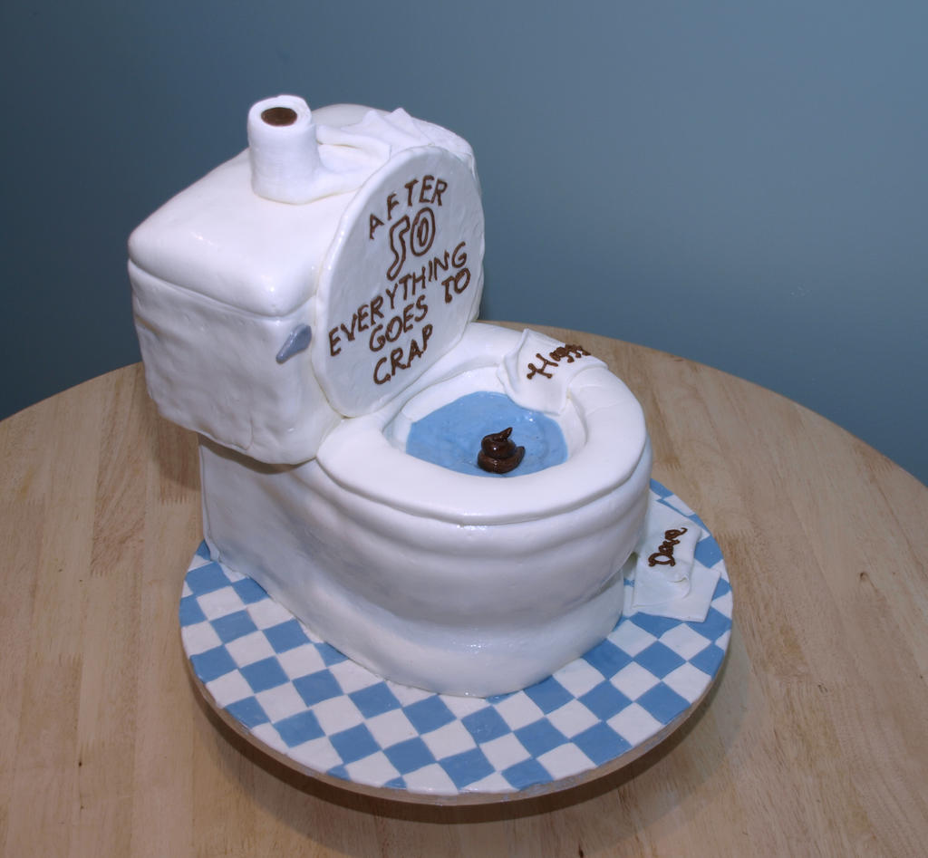 Toilet cake other side view