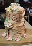 Birch Bark and Wild Rose Wedding Cake by reenaj