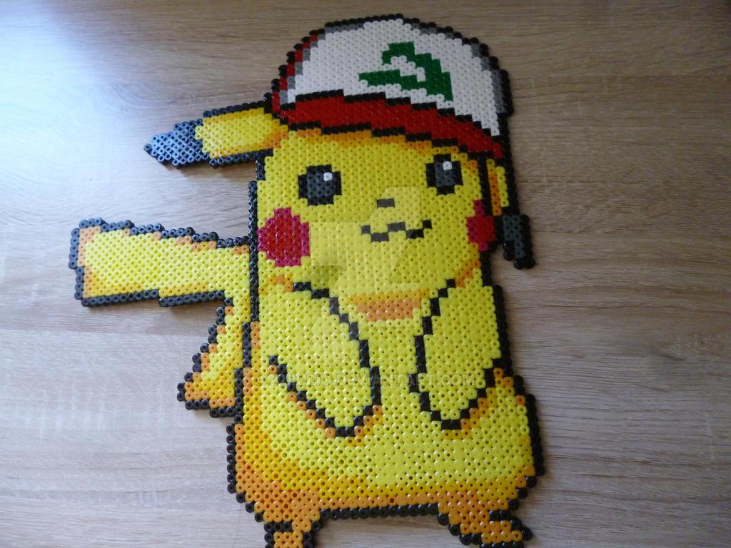 Pikachu from Pokemon Moon and Sun in perler beads by Kukirio