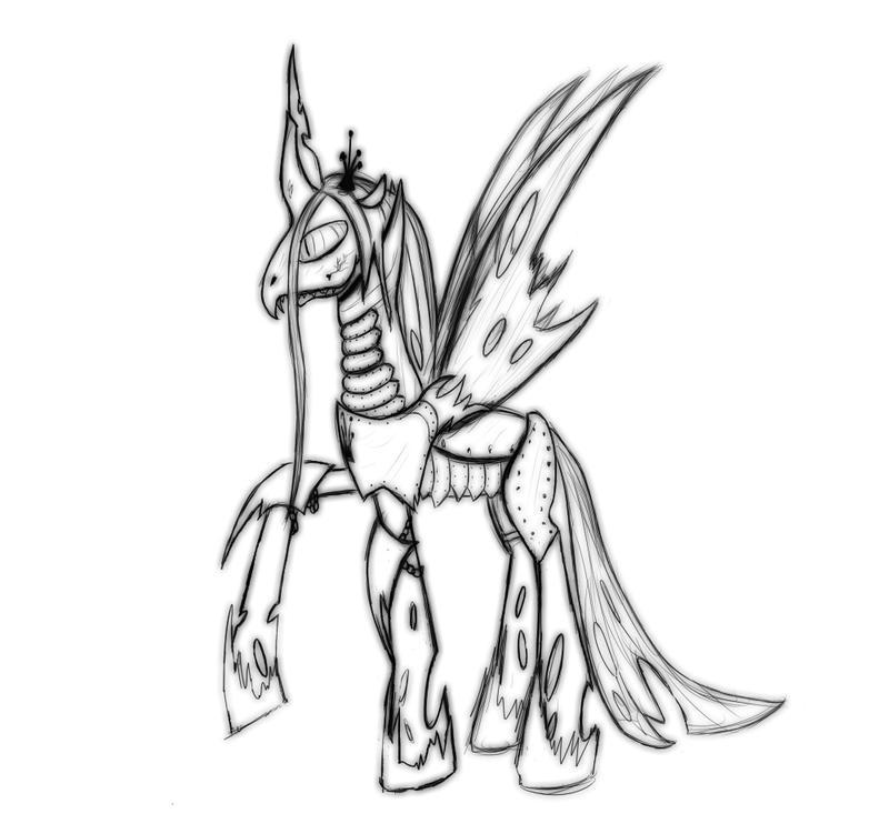 Queen chrysalis in battle armor sketch by spacehunt on for Queen chrysalis coloring pages