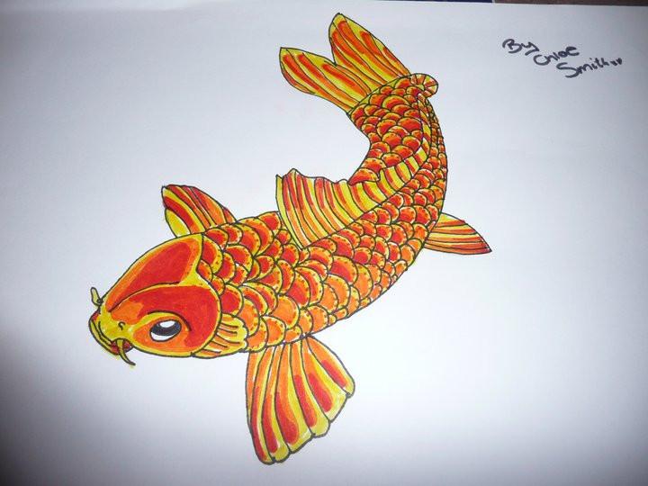 Koi fish drawing by chloesmith8 on deviantart for Japanese koi fish drawing
