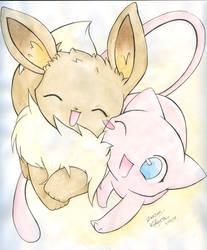 Mew and Eevee by Kidura