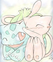 Mew and Bulbasaur by Kidura