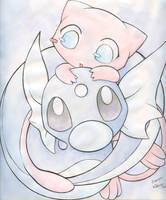 Mew and Baby Dratini by Kidura