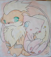 Mew and Growlithe by Kidura