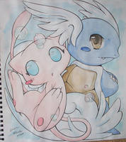 Mew and Wartortle by Kidura