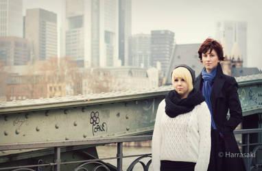 John and Sherlock on a Bridge by Xx-KasumiChan-xX