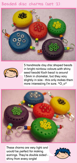 Beaded disc charms - set 2